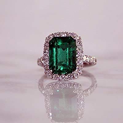 Emerald & Diamond Halo Engagement Ring, Full Certified Labortory Report Included