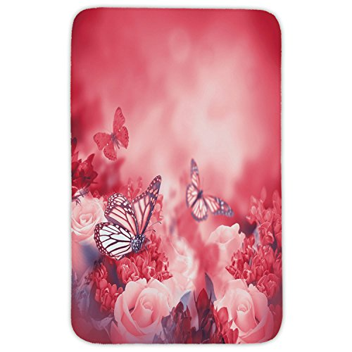 Rectangular Area Rug Mat Rug,Rose,Romantic Bouquet of Roses with Butterflies Dreamy Spring Garden Buds Blooms Decorative,Dark Coral Light Pink,Home Decor Mat with Non Slip Backing by iPrint
