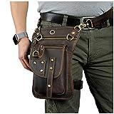 Le'aokuu Mens Genuine Leather Motorcycle Waist Pack Drop Leg Cross Over Bag (The 2141 brown)