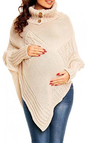 Happy Mama. Para Mujer Poncho premamá con trabajo de ocho y cuello alto. 312p Ecru