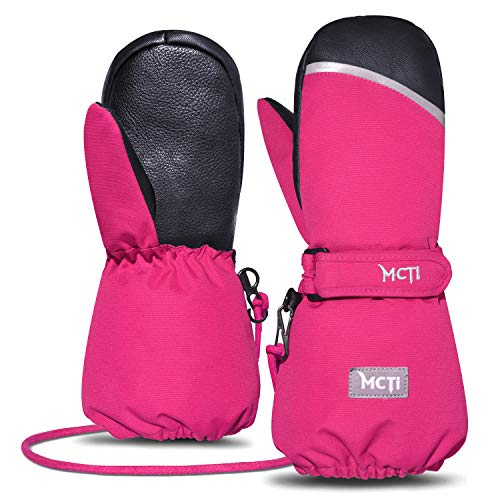 MCTi Kids Mittens Waterproof Winter Ski Snow Warm Sherpa Lined Boys Girls Long Cuff Reflector Stray On Gloves with String Red XS