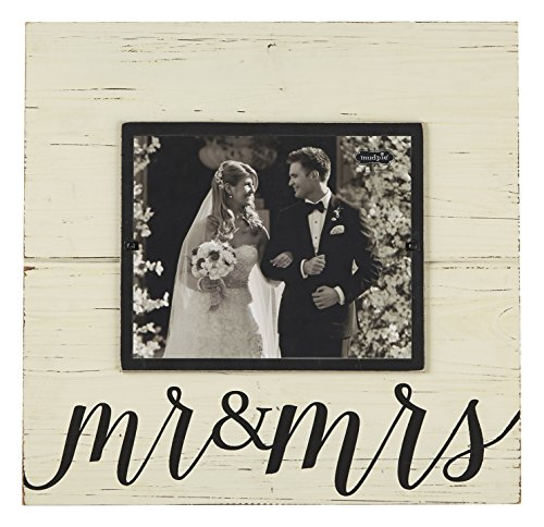 Mud Pie Distress Wood Mr. and Mrs. Deluxe Horizontal Frame,