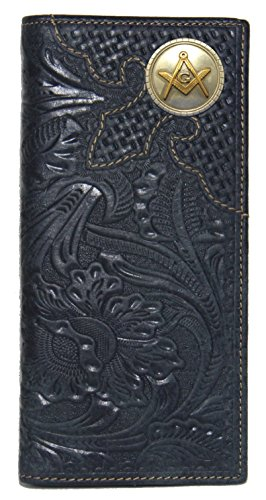 Custom Montana West Masonic Square and Compasses Long Wallet Hand Tooled Leather Black