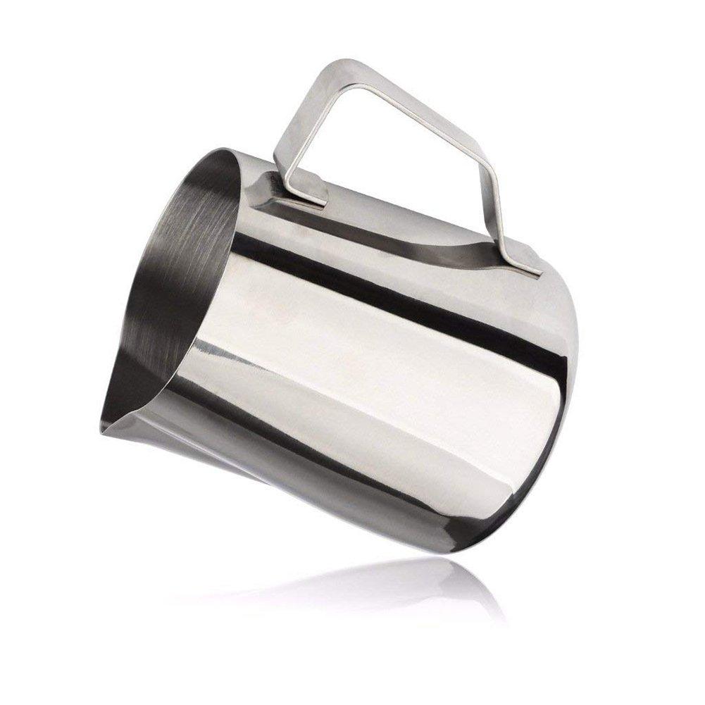 Jarra de leche para espuma, acero inoxidable, vaso para crema de café para máquinas de café y leche de espuma. 21 Ounce plata: Amazon.es: Hogar