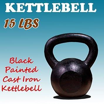 Nuevo 15 KG de hierro fundido pesas rusas peso mancuernas Kettlebell: Amazon.es: Deportes y aire libre