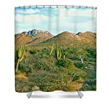 "Pixels Shower Curtain (74"" x 71"") ""Cardon Cactus Pachycereus Pringlei"""