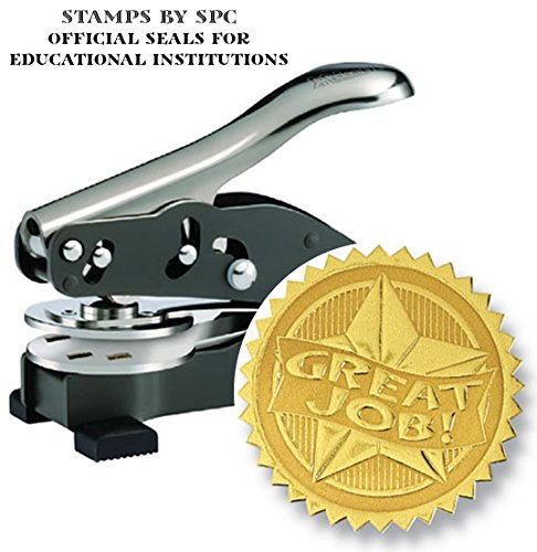 Embosser Bundle // Custom Embosser (Seal) & Premium Gold Foil Embossing Certificate Labels // Seal of Achievement; Impression: 1-5/8 [SPC2CS] // Employee/Student Recognition At Work/School