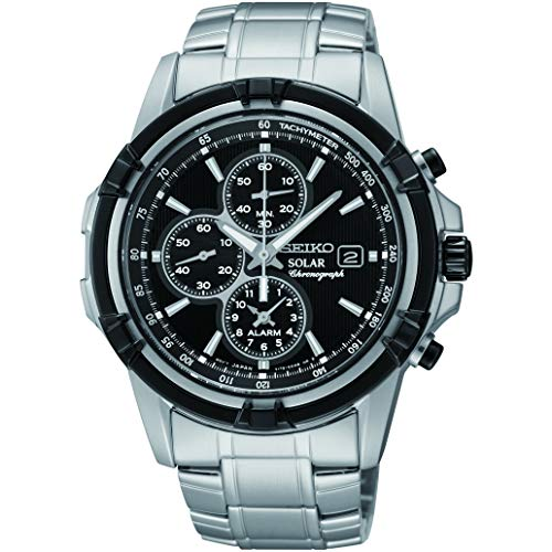 Seiko Men's Chronograph Solar Powered Watch with Stainless Steel Strap SSC147P1