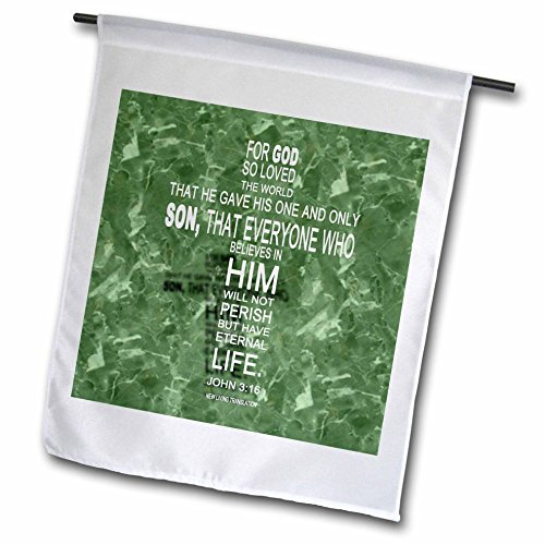 3dRose John 3 16 Verse in Form of Cross Reflected on Green Granite Print - Garden Flag, 12 by 18