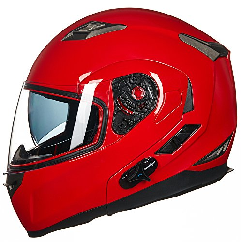 ILM Bluetooth Integrated Modular Flip up Full Face Motorcycle Helmet Sun Shield Mp3 Intercom (M, RED)