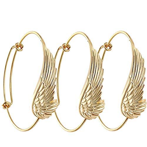 SENFAI Supernatural Protection Angel Wing Adjustable Love Bangles Women Girl Charm Bracelets Gifts (3 pcs Set ()