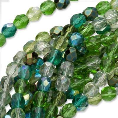 Czech Fire Polish Glass Beads 6mm Round Ever Green Mix (50)