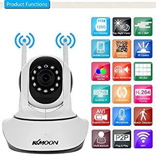KKmoon 720P Wireless WiFi Camera IP Camera Pan Tilt Camera HD 1.0MP 1/4 Inch CMOS 3.6mm Lens Support PTZ Two-Way Audio Night Vision Phone APP Control Motion Detection TF Card