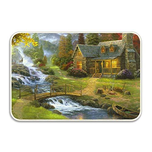 Artistic Painting House Waterfall Mountain Cottage Canoe Bridge River Deer Doormat Entrance Mat Floor Mat Rug Indoor/Bathroom Mats