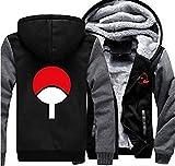 HOLRAN Anime Naruto Uchiha Sharingan Thicken Jacket Cosplay Hoodie (BlackGrey XX-Large)