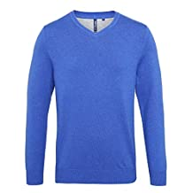 Asquith & Fox Mens Cotton Blend V Neck Sweater - 9 Colours