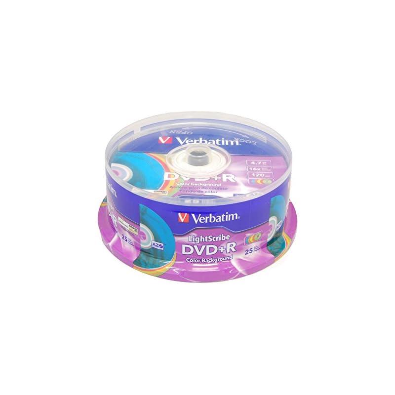Verbatim 16x DVD+R LightScribe Color Backgound Recordable Discs, 4.7GB/120min - 25 Pack (Blank Media)