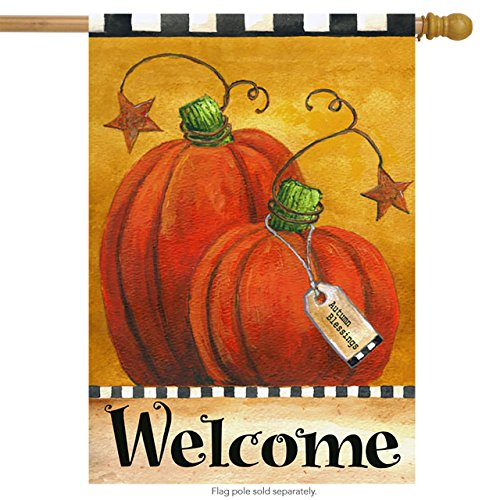 Fall House Flags - Pumpkin Autumn Welcome House Flag Primitive Fall 28