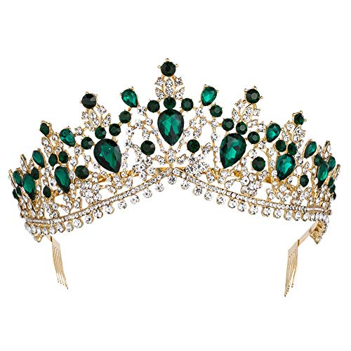 Royal Rhinestone Crystal Queen Tiara Headband Wedding Pageant Birthday Party Crowns Princess Headpieces for Women Girls (Gold Green)