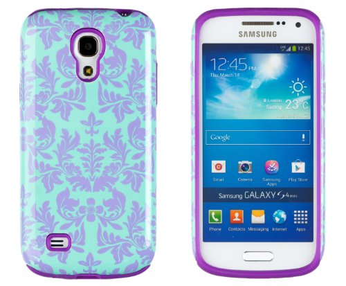 DandyCase 2in1 Hybrid High Impact Hard Sea Green Flower Pattern + Purple Silicone Case Cover For Samsung Galaxy S4 Mini i9190 + DandyCase Screen Cleaner (Samsung Galaxy S4 Mini Cute Case compare prices)