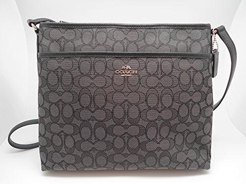 Coach Outline Signature File Bag Crossbody - Black/Smoke/Black