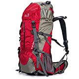 SUNVP 50L Lightweight Hiking Backpack Outdoor Sport Nylon Water-resistant Internal Frame Trekking Bag with Rain Cover for Climbing Camping Travel Mountaineering