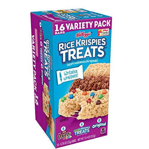 Kellogg's Rice Krispies Treats, Crispy Marshmallow Squares, Variety Pack, with Writable Wrappers, 12.4oz Box (16 -