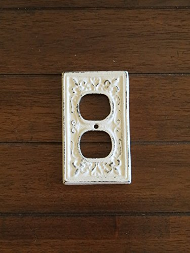 decorative-electrical-outlet-plate-plug-in-cover-fleur-de-lis-cast-iron-shabby-chic-style-antique-wh