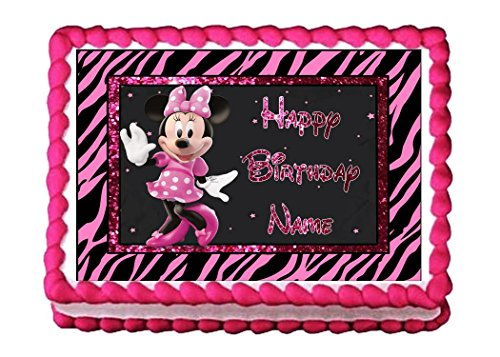 Edible Cake Topper Minnie Mouse Pink Zebra (Minnie Mouse Zebra Decorations)