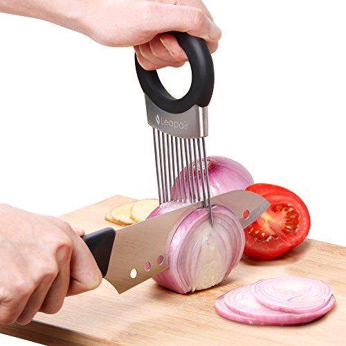 Leapair Zwiebelhalter Zwiebel Halter aus Edelstahl Slicer Gemüse Tomaten Cutter Zwiebel Schneidehilfe mit Edelstahl Seife