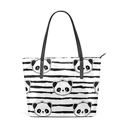 Coosun schwarz und weiß Panda Bear Streifenmuster PU Leder Schultertasche Handtasche und Handtaschen Tasche für Frauen PwrwH