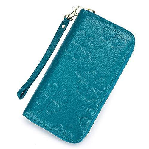 Portafoglio Nero Portafogli Soldi Cinturino Blue Vera In Per Sky Donna 3d Pelle Rilievo Lungo Con Borsa Da TrAq1T
