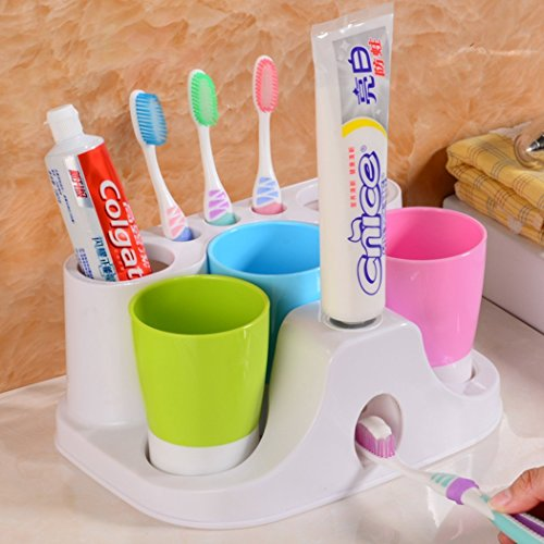 RC Kids Toothbrush Holder Set Toothpaste Dispenser with 3 Tooth Mugs, Stand Toothbrush Holder Automatic Toothpaste Squeezer by RC