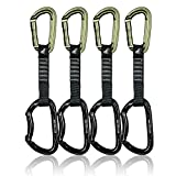 Fusion Climb 4-Pack 12cm Tactical Military Rescue Quickdraw Set with Contigua Straight Gate Green/Vapor Bent Gate Black Carabiners