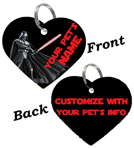 uDesignUSA Disney Double Sided Pet Id Tags for Dogs & Cats Personalized for Your Pet (Darth Vader, Heart Shaped) ()