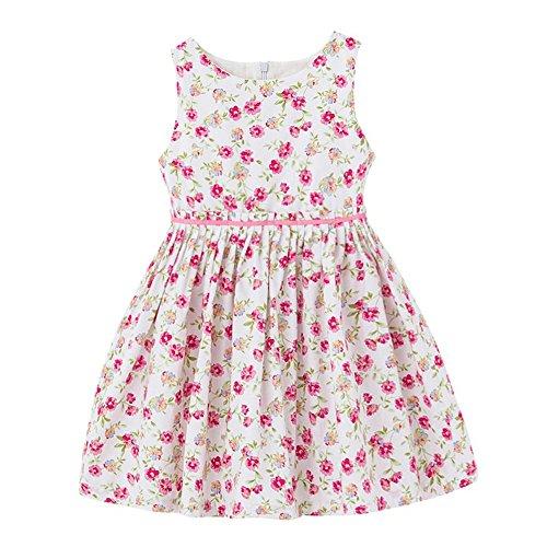 Girls 2T 12 Cotton Sleeveless Basic Dress Summer Floral Print Casual Sundress 1722Pink 7 8