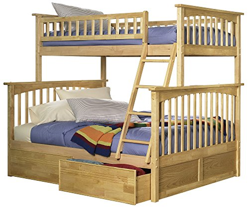 Atlantic Furniture Columbia Bunk Bed with 2 Flat Panel Bed Drawer, Twin Over Full, Natural (Bed Maple Bunk Twin)