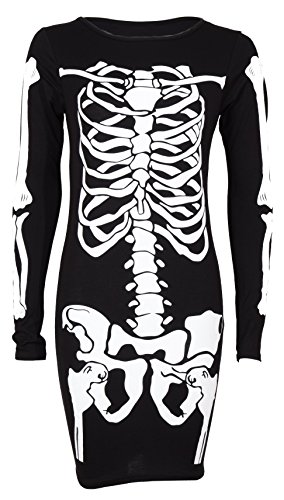 Cima Mode Skeleton Print Bones Bodycon Dress Bodysuit Plus Size 6-20 (US 22/24, Bodycon Black)]()