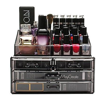 0b83b4ee8 FOBUY Caja acrílica Estante de maquillajes Maquillaje Cosméticos Joyería  Organizador (4 Drawers Clear C)