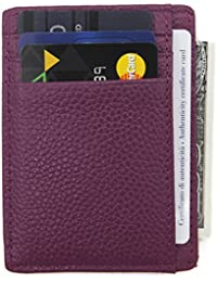 Cartera de bolsillo de cuero genuino con tecnología RFID blocking con bolsillo frontal para tarjetas de crédito...
