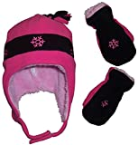N'Ice Caps Girls Snow Embroidered Sherpa Lined Micro Fleece Hat and Mitten Set (3-5 Years, Fuchsia/Black)