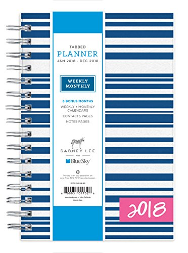 "Blue Sky Dabney Lee 2018 Weekly & Monthly Planner, Twin-Wire Binding, 5"" x 8"", Block Island"