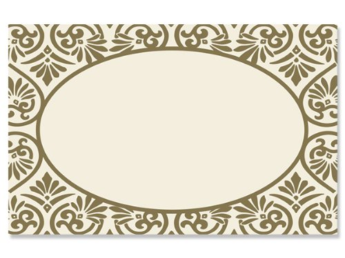 50 pack Elegant Scroll Gold OvalNo Sentiment Enclosure Cards (20 unit, 50 pack per unit.) by NAS