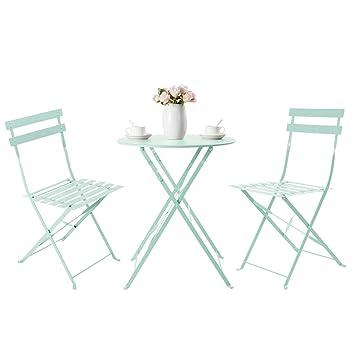 HollyHOME Juego de Muebles de balcón Plegables de Acero al Aire Libre, 3 Piezas de Mesa y sillas Plegables, verde claro