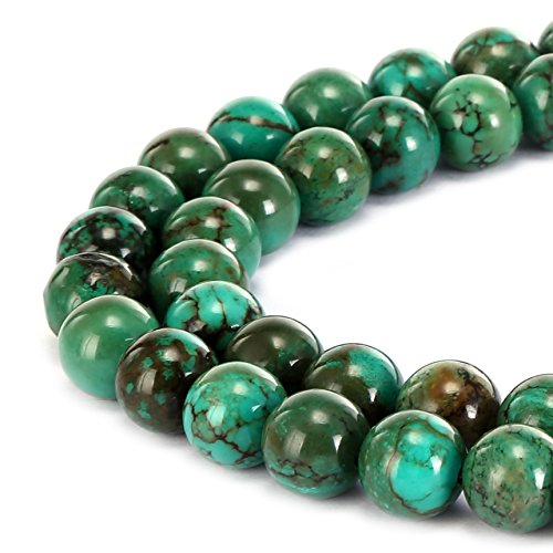 - BRCbeads Gorgeous Natural Dark Green Turquoise Gemstone Smooth Round Loose Beads 10mm Approxi 15.5 inch 35pcs 1 Strand per Bag for Jewelry Making