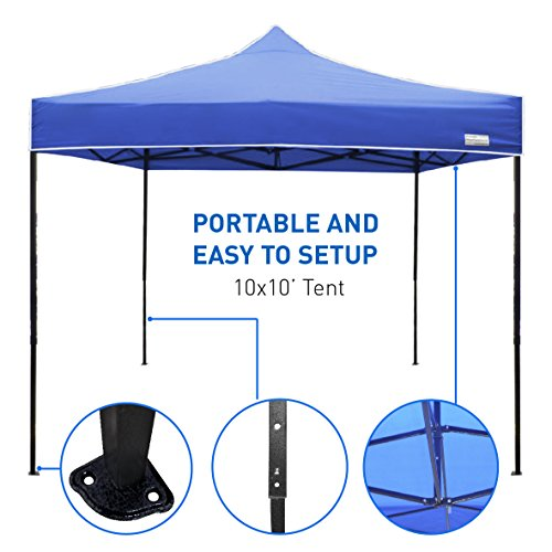 Best Selling 10 x 10 Tent - Deluxe Instant Easy Pop-Up Frame - Outdoor Gazebo Canopy Tent - Beach Party Market Sun Shade by EasyGoProducts