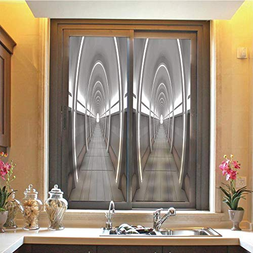 Outer Space Decor 3D No Glue Static Decorative Privacy Window Films, Galactic Place with Oval Shaped Ceiling Force Alien Life Apollo Comics Graphic,17.7
