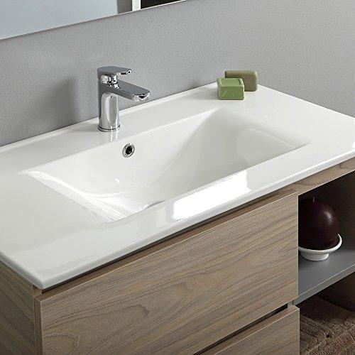 Lavabo Ceramica Per Bagno.Mobile Bagno Berlin 90 Cm Con Cassetti E Vano Lavabo Ceramica Luce