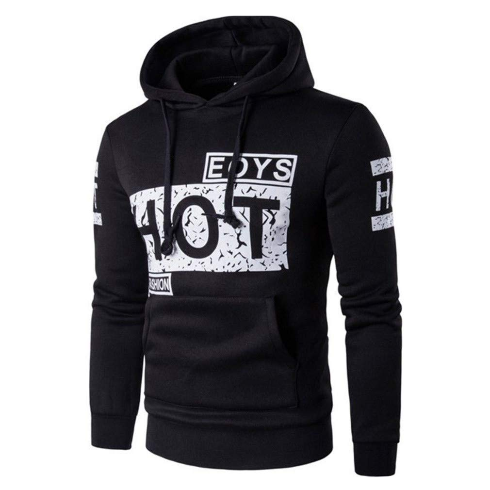 Usopu Mens Casual//Daily Sports Letter Printing Monochrome Long Sleeve Hoodie