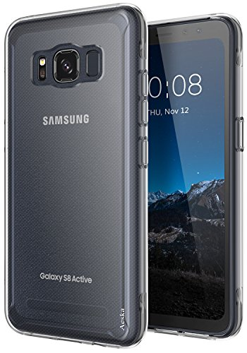 (Galaxy S8 Active Case, Aeska Ultra [Slim Thin] Flexible TPU Gel Rubber Soft Skin Silicone Protective Case Cover for Samsung Galaxy S8 Active)